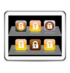 Lock orange app icons vector image