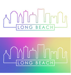 long beach skyline colorful linear style vector image