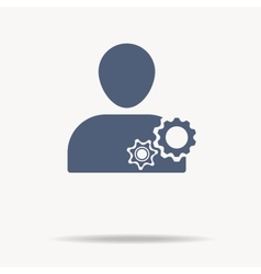 man and cog icon Flat icon One of set web icons vector image