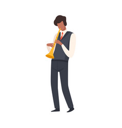 Man playing trumpet male jazz musician character vector