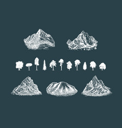 mounts shapes set with silhouettes trees vector image