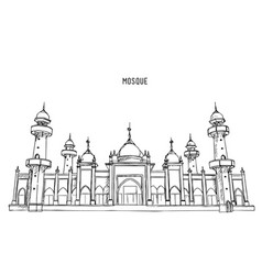 Muslim mosque hand draw sketch vector