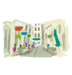old european street sketch for your design vector image