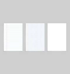 Paper notebook for note white sheet with lines vector