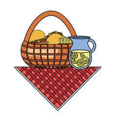 picnic basket with food icon vector image