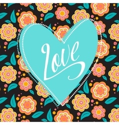 Postcard with turquoise heart on dark floral vector image
