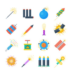 Pyrotechnics set of icons in a flat style vector