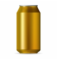 Realistic gold aluminum can vector