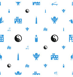religion icons pattern seamless white background vector image
