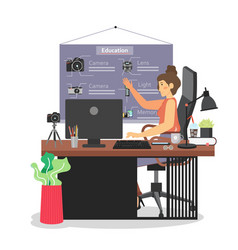 remote teaching from home flat vector image