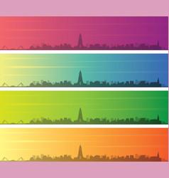 reykjavik multiple color gradient skyline banner vector image
