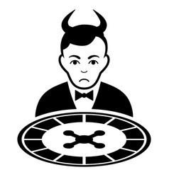 Sad devil roulette dealer black icon vector