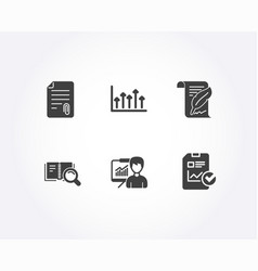 Search book attachment and growth chart icons vector