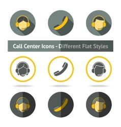 set call center icons in different flat styles vector image