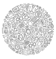 Set medical cartoon doodle objects vector