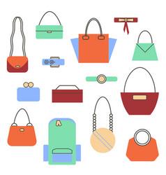 set of bags and handbag vector image