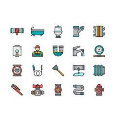 set plumbing service color line icons bathtub vector image