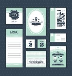 set vintage wedding cards vector image