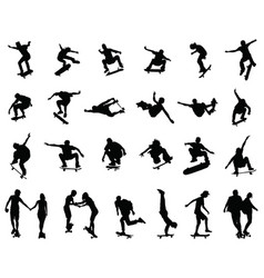 Silhouettes skate jumpers vector