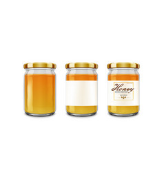 small glossy glass jar with gold lid vector image