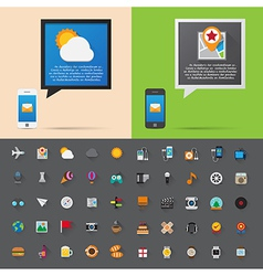 Smartphone alert and flat icons collection Set 3 vector