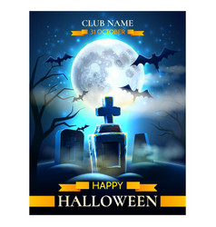 spooky cemetery graves for halloween party vector image