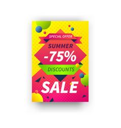 summer discount poster seasonal sale placard vector image