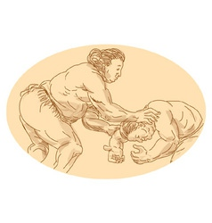 Sumo wrestlers wrestling vector