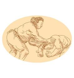 sumo wrestlers wrestling vector image
