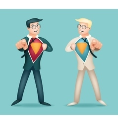 Superhero Suit under Shirt Happy Smiling vector image