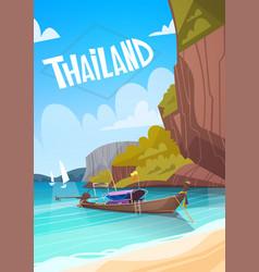 Thailand landscape long tail boat seascape vector