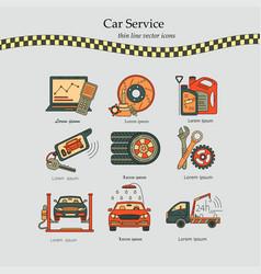 Thin line pictogram symbols of car service vector