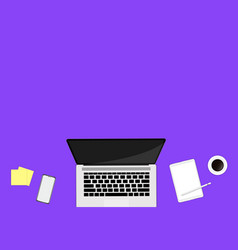top view workspace with laptop smartphone coffee vector image