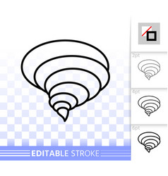tornado simple black line icon vector image