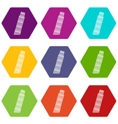 tower of pisa icon set color hexahedron vector image