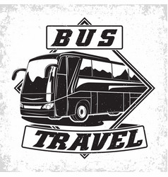 Travel bus vintage emblem vector