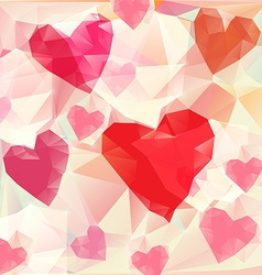Triangle hearts background vector image