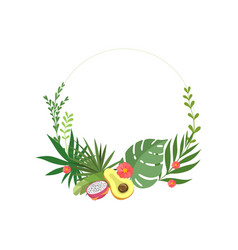 tropical leaves elegant frame with flowers place vector image