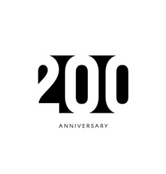 two hundred anniversary minimalistic logo two vector image
