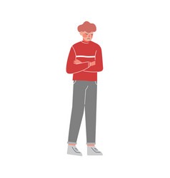 Unhappy young man guy having problems loneliness vector