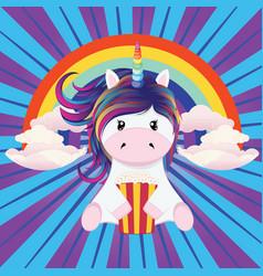 Unicorn with popcorn vector