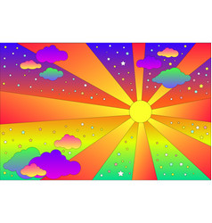 vintage psychedelic landscape with sun and clouds vector image