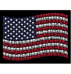 Waving usa flag stylization of skull vector