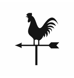 Weather vane with cock icon simple style vector image