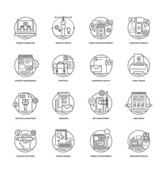 Web and mobile app development line icons 1 vector