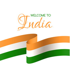 Welcome to india card with national flag of india vector