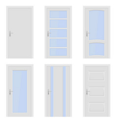 white doors interior designs with glass elements vector image