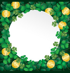 white paper on shamrock leaves and coin vector image