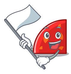 With flag quadrant mascot cartoon style vector