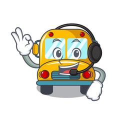 with headphone school bus mascot cartoon vector image
